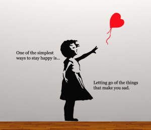 ... BANKSY STYLE HEART BALLOON GIRL WALL STICKER HAPPY QUOTE INSPIRATIONAL