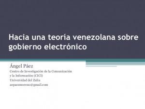 Hacia una teoría venezolana sobre gobierno electrónico