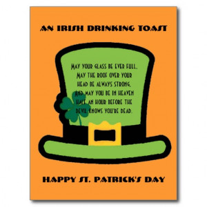 Funny Irish Drinking Sayings Irish drinking toast postcards