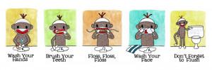 sock monkey bathroom reminders prints image