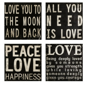 Collier Black and White Quotes Wood Wall Art Plaques, Set of 4