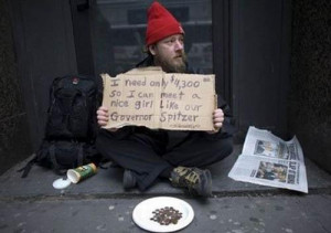 Man with Funny Homeless Signs and Quotes