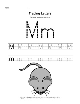 Letter M Tracing Worksheet