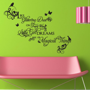 Decal Quote with Birds and Butterflies - Glittering Dust, Fairy Wings ...