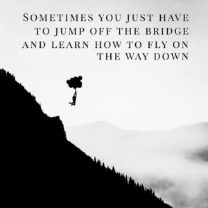 ... you just have to jump off the bridge and learn to fly on the way down