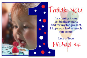 ... Personalised 1st First Birthday Thank you Thankyou PHOTO Cards N191