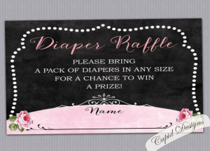 Chalkboard diaper raffle card. Baby Shower raffle. by CupidDesigns, $5 ...