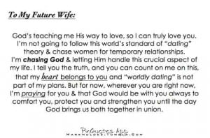 To my future wife.