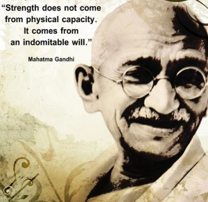 Mahatma Gandhi Wallpaper with Quote on Strength and Will power