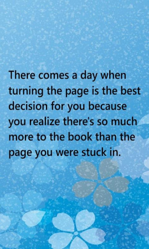 Quote on turning the page and moving on in life for better things
