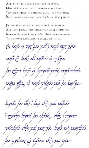 in Elvish script: Full Poems, Lotr Love Quotes, Lotr Quotes Elvish ...