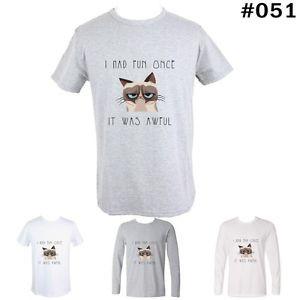 ... Grumpy-Cat-Quotes-Design-Mens-Boys-Long-short-sleeve-T-Shirt-Tee-Tops