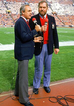 Dick Enberg (left) and Merlin Olsen called games together on NBC for ...
