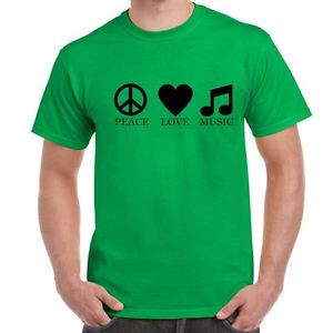 Mens-Funny-Sayings-Slogans-T-Shirts-Peace-Love-Music-tshirt-Irs-Green ...