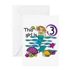 Mermaid Birthday 3Rd Greeting Cards