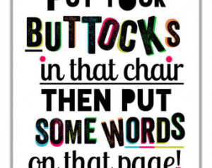... , Motivational Quote For Procrastinating Authors, Typographic Print