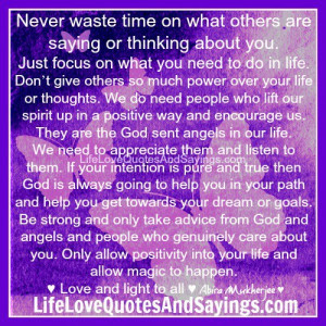 Never waste time..