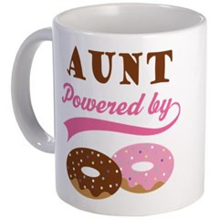 aunt funny donut quote mug aunt powered by donuts funny doughnut quote ...