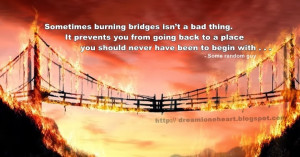 and wiser, there are going to be situations in which burning bridges ...