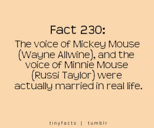 Fact Quote ~ The voice actors of Mickey Mouse and Minnie Mouse were ...