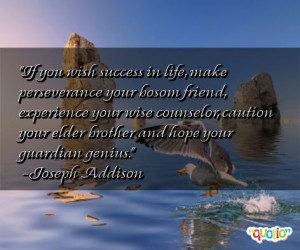 If you wish success in life , make perseverance your bosom friend ...