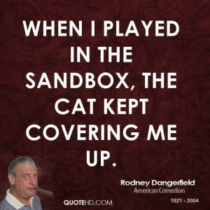 When I played in the sandbox, the cat kept covering me up.