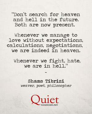 Shams Tabrizi on heaven and hell: | (Tagged: quote, heaven, hell ...