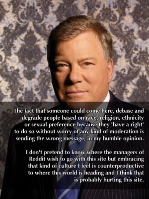 William Shatner hates Free Speech!