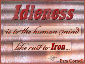 Idleness is to the human mind like rust to iron.