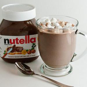 chocolat, hot, hot chocolate, marshmallow, nutella, batido de nutella