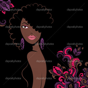 Beautiful african american woman silhouette - Stock Illustration