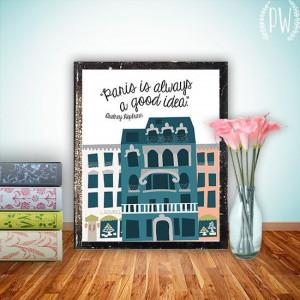 Audrey Hepburn Quote Print, Printable art wall decor girl's room ...