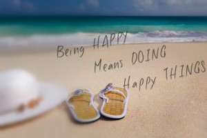 Hat-and-flip-flops-beach-being-happy-quote1