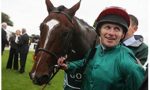 Jockey Joe Fanning looks suitably joyful after his mount Shakespearean ...