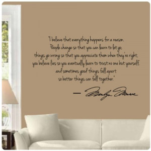 Marilyn Monroe Wall Decal Decor Quote I Believe things happen...Large ...
