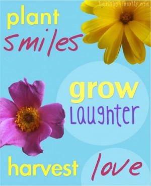 Print: Plant smiles, grow laughter, harvest love in 8×10 framed art.