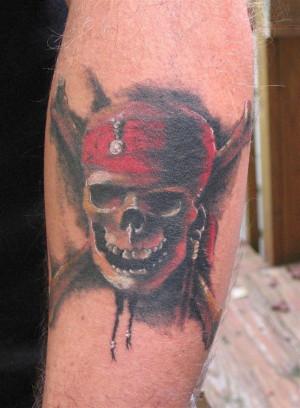 Color Pirate Skull Tattoo On Left Sleeve
