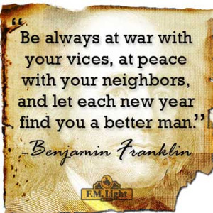 New Years Eve Quote from Benjamin Franklin and F.M. Light and Sons