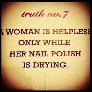 Helpless while her Nail polish Dries