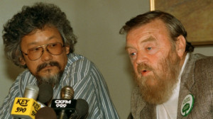 Farley Mowat speaks at a news conference