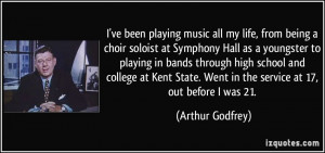 choir soloist at Symphony Hall as a youngster to playing in bands ...