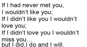 If i had never met you, i wouldn't like you; if i didn't like you i ...