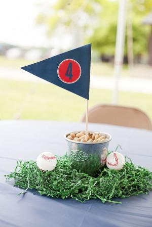 center piece for baseball banquet. add a couple Cracker Jack boxes….