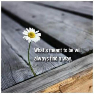 What's meant to be will always find a way. :)