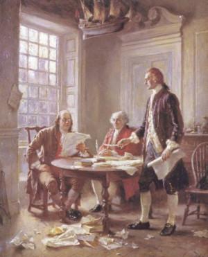 Benjamin Franklin and John Adams critique Thomas Jefferson's rough ...