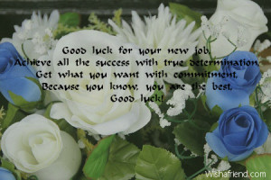 Good luck for your new job,