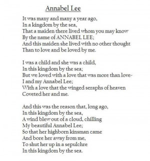 love sad poem Edgar Allan Poe annabel lee love poem