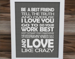 Love Like Crazy - song lyrics print - Lee Brice - typography subway ...