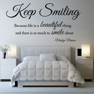 KEEP-SMILING-MARILYN-MONROE-Wall-Sticker-life-beautiful-quote-bedroom ...