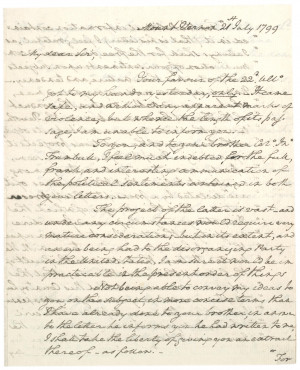 George Washington to Jonathan Trumbull Jr., July 21, 1799. (Gilder ...